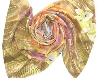 Silk scarf Lady Gladiolus. Hand painted Floral silk scarf. Red, brown, blue, pink, gray painted flowers silk scarves. Batik scarf RDY 2 SHIP