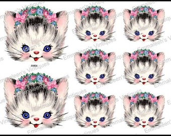Vintage Image Retro Cat Kitten Rose Bouquet And Bows Waterslide Decals~ AN804