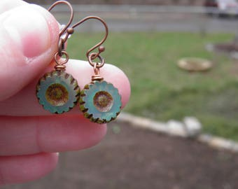Aqua-teal translucent Czech glass flower earrings/Czech glass flowers/feminine/delicate/antique copper fish hook ear posts/boho chic/simple