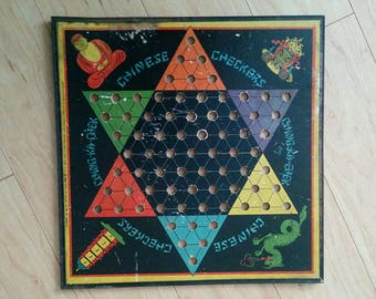 Vintage Chinese Checker Board by Gotham Pressed Steel Corporation 1938 - Ching-Ka-Chek