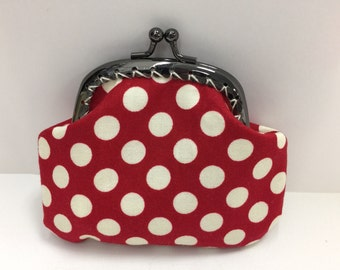Red and Ivory Polka dot Coin Purse