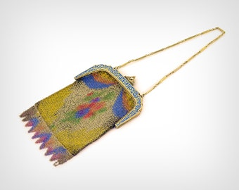 1910's Purse // Early Teens/Edwardian Hand-Painted Chain Mesh Evening Bag // Antique Handbag