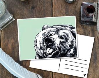 Bear - Postcard with Illustration, happy bear mint green