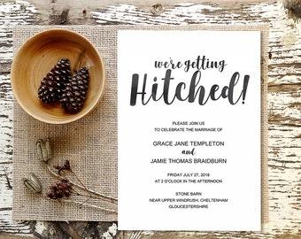 Rustic Wedding Invitation Template, Getting Hitched, Printable Template, Editable Wedding Invitation, Rustic Invite, Shabby Chic, #MMPB05
