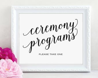 Ceremony Programs, Please Take a Program, Wedding Program Sign, Ceremony Program Sign, Wedding Printable, PDF Instant Download, MM01-1
