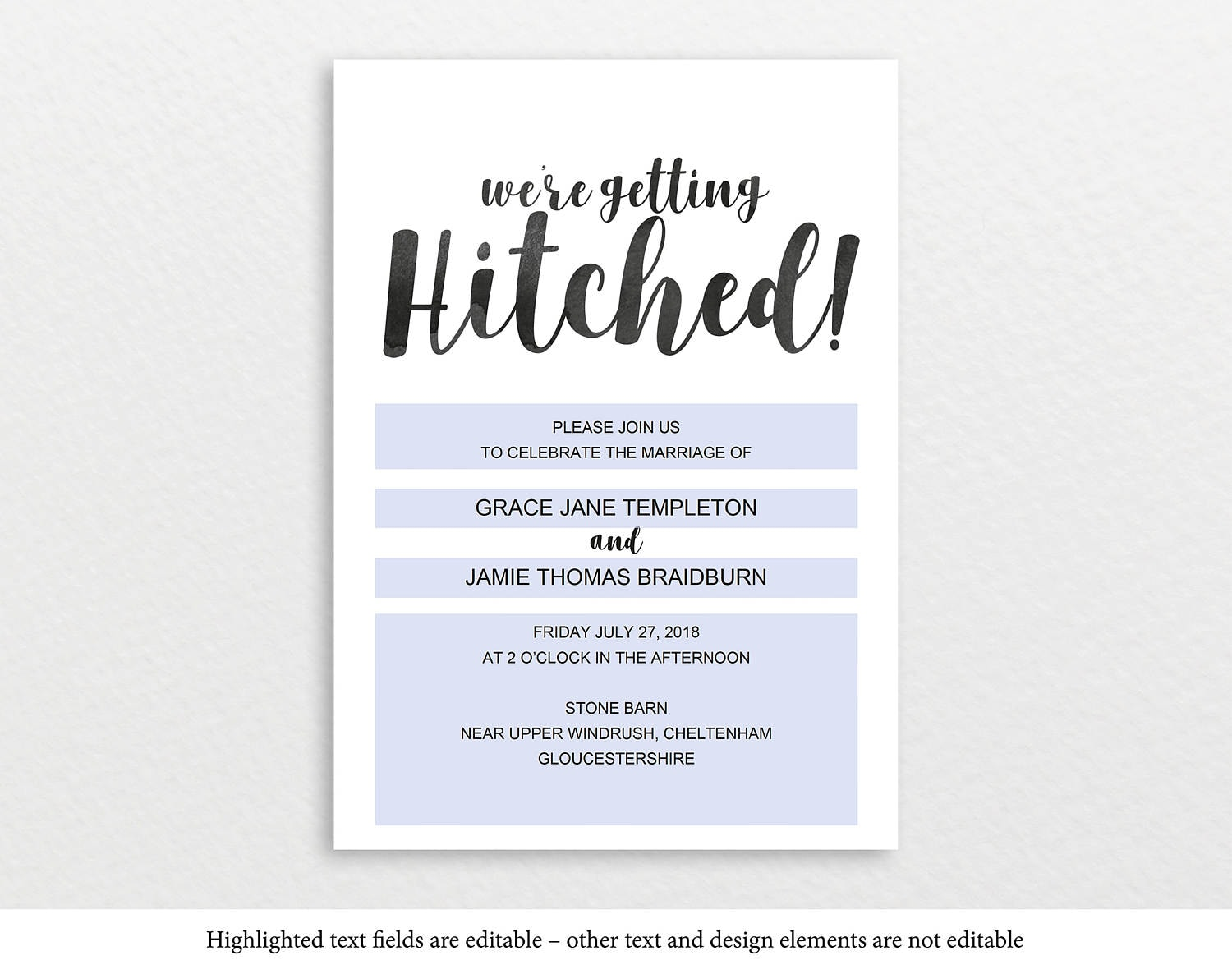 Rustic Wedding Invitation Template, Getting Hitched, Printable ...