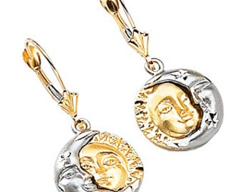 14k solid gold two tone sun & moon Lever back earrings.