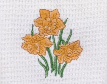Daffodil Embroidered Microfiber Hand Towel - White