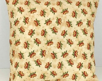 Bells and Holly Christmas Pillow Cover