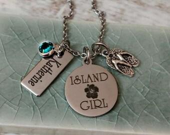Personalized Island Girl Engraved Flip Flop Swarovski Necklace - Hibiscus, Cruise, Honeymoon, Beach Vacation Jewelry