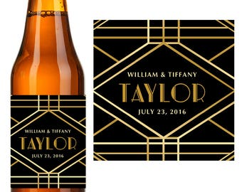 Wedding Beer Labels - Custom Beer Label - Personalized Beer Label - Wedding Beer Gift - Art Deco -6 ct.