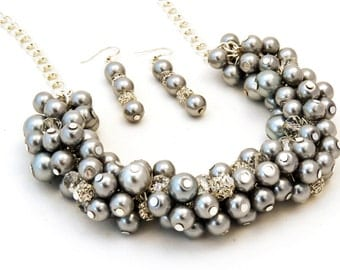 Grey Pearl Chunky Cluster Necklace With Crystals And Rhinestones ideal for your bridesmaids and wedding party
