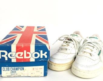 Rare Vintage 70s 80s Reebok Boys Club Champion Junior Athletic Training Tennis Sneakers Deadstock in Original Box - Size 2.5 Boys