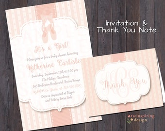 Ballet Slippers & Stripes Baby Shower Invitation and/or Thank You Note DIGITAL FILE