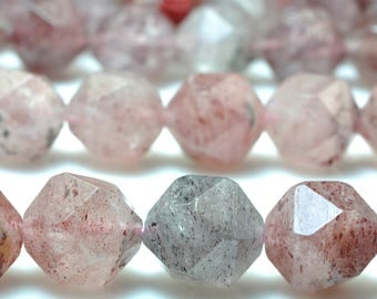 30 pcs of Natural Straberry crystal faceted  nugget beads in 12mm
