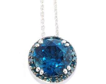Sterling Silver 5.8ctw London Blue Topaz & Blue Diamond Circular Pendant