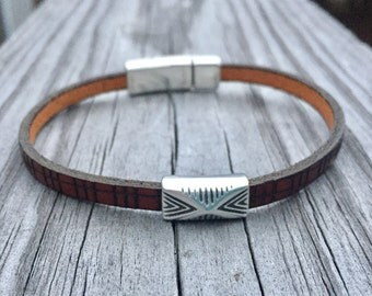 Custom Fitted Dainty Brown Leather Bracelet with Detailed Southwest Silver Slide Focal with Magnetic Closure