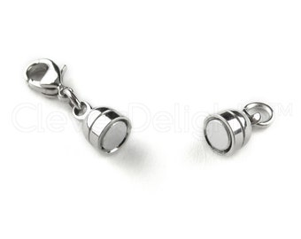 8 Magnetic Jewelry Clasps - Capsule Style - Silver Color - Lobster Clasp Included -- For Necklaces, Bracelets, and Other Jewelry