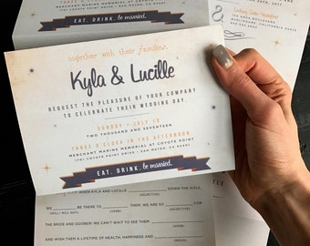 Accordion Fold Invitation with a Perforated Mad Lib RSVP Postcard; invitation with reception details, accommodations, wedding website