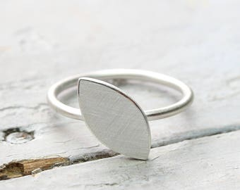 Silver ring ellipse 925 Silver ring with oval plate, modern, design ring