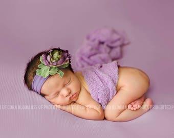 Flower Headband, Purple Flower Headband, Purple Headband, Jersey Headband, Photo Props, Newborn Headband, Baby Headband, Photography Props