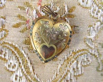 Vintage Gold Tone Heart Locket - Large Heart and Flowers Locket