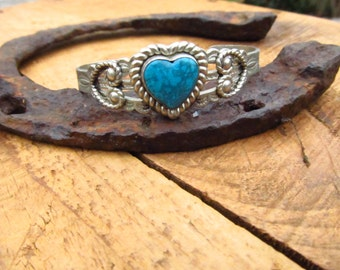 Vintage 70's-80's Silver Tone Metal and Turquoise Stone Cuff Heart Bracelet -Heart Cuff Bracelet