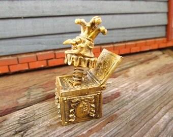 Vintage Vanity Perfume Jack in the Box Figure-  Hypnotique Metal Perfume Figurine - Max Factor Perfumer