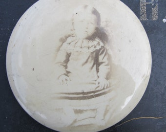 Victorian Cabinet Card of Eerie Toddler- Possible Postmortem Photograph Celluloid Button