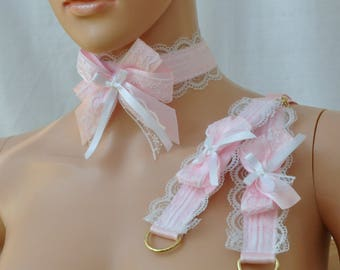 Collar and cuffs, White Pink LACE COLLAR and CUFFS, Lolita choker and wrist cuffs, White pink jewellery set Kawaii harajuku lace double bow