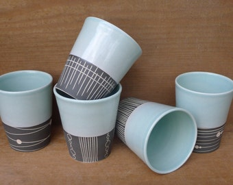 Mid-Century Inspired Charcoal and Aqua Beakers