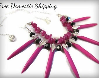 One of a Kind, Fuchsia Pink Necklace, Turquoise Necklace, Christmas Gift, Semi-Precious Necklace, Layered Tribal Necklace, Free US Shipping