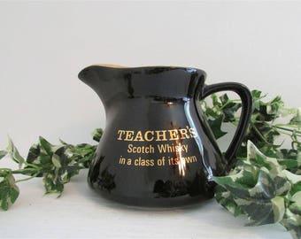 Vintage Barware, Teachers Scotch Mug, Advertising Water Pitcher, Black Beer Stein, Fun Drinking Jug, Teachers Gift, Barware Gift. Man Cave
