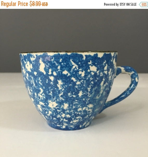 ON SALE Royal Copenhagen Cumberland Blue Spongeware Teacup, Town and Country