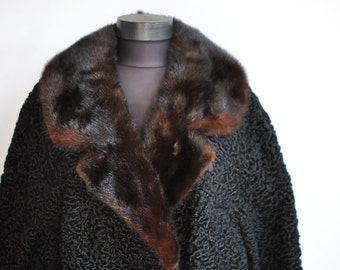Vintage ASTRAKHAN FUR COAT with mink fur collar big size fur coat .........................(244)