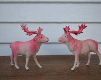 Vintage Pair of Pink Reindeer * made in Japan * plastic * celluloid *