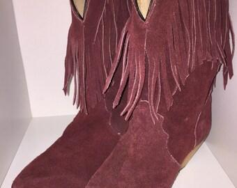 Vintage fringed boots