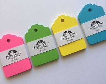 100  Blank Neon  Gift Tags // Four Color Gift Tag Set