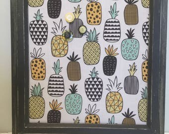 Eco friendly magnetic board up cycled frame metal covered with pineapple fabric organization wall decor memo pictures exotic fruits display