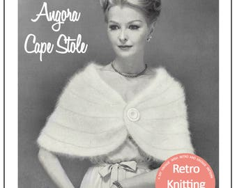 1950's Angora Cape Stole Knitting Pattern  - PDF Instant Download - PDF Cape knitting Pattern - PDF Knitting Pattern