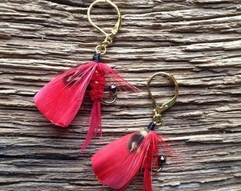 Steelhead fly earrings: fiery red steelhead fly fishing earrings, fly fishing jewelry, red and black earrings, trout earrings