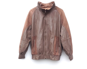 Vintage 80's Bomber Jacket / Taupe Leather