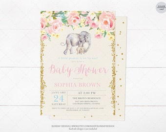 Rosey Floral Elephant Baby Shower Invitation Card - DIY Printable Party - Baby Peanut Baby Shower - Watercolor Flowers, Gold Glitter