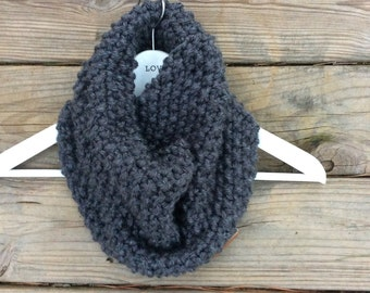 Knitted Chunky Cowl, Infinity Scarf, Fall, Charcoal Grey Cowl, Orange Cowl/Winter apparel , Warm scarf all sizes