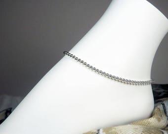 "Silver Bead Ankle Bracelet - Beaded Bracelet - Silver Anklet - Beaded Anklet - Girls - Plus - Summer Jewelry - 7"", 8"", 9"", 10"", 11"", 12"", 13"