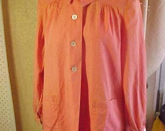 Vintage 1930s Orange Cotton Smock,large pockets  S34 #2271