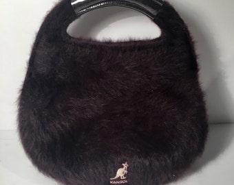 Dark Purple Fuzzy Kangol Handbag / Crossbody Purse