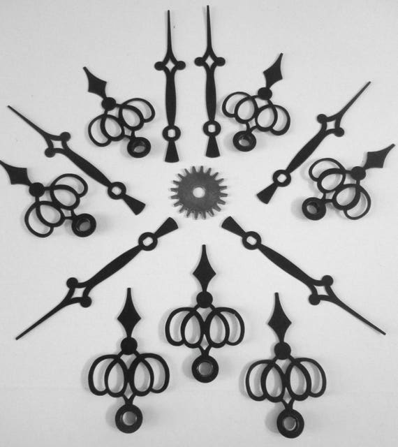 "6 Pairs of BlackVintage Diamond Design Steel Cock Hands - Make Clocks, Jewelry - Steampunk Art   3 1/8"" and 2 1/8"""