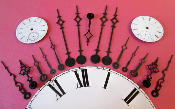 15 Assorted Vintage Black Steel Clock Hands With 2 Elgin Porcelain Pocket Watch Dials - Make Clocks, Jewelry, Steampunk Art & Etc...