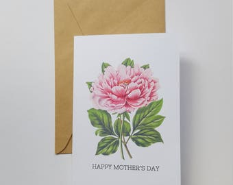 Happy Mother's Day Card | Peony Card | Botanical Card | Floral Mother's Day Card | Card for Mum | Card for Grandma